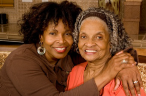Aging mom and daughter